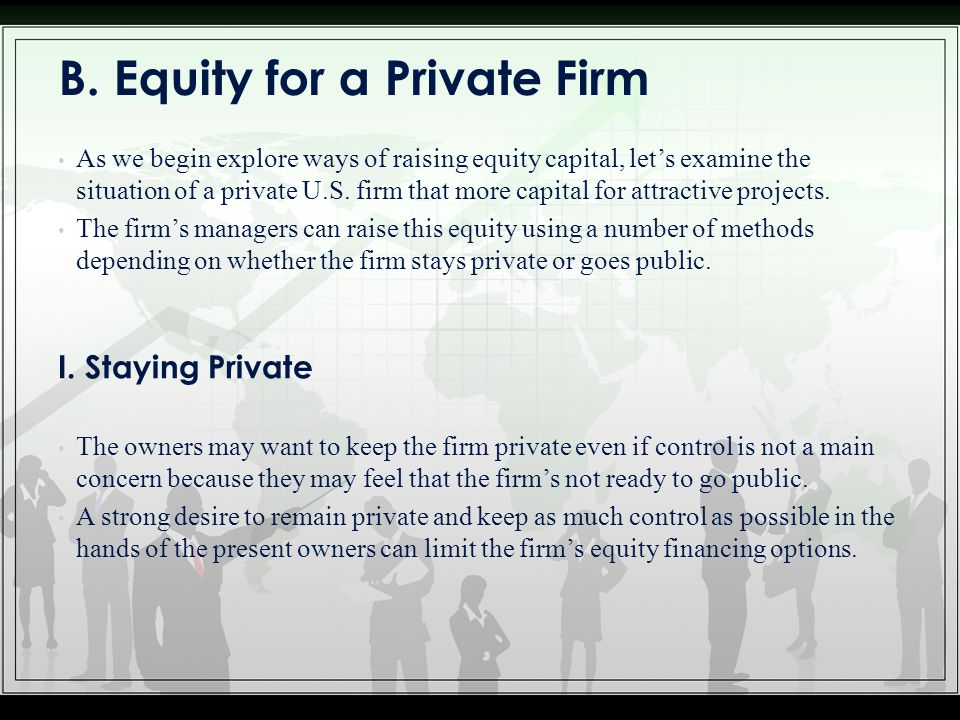 B. Equity for a Private Firm