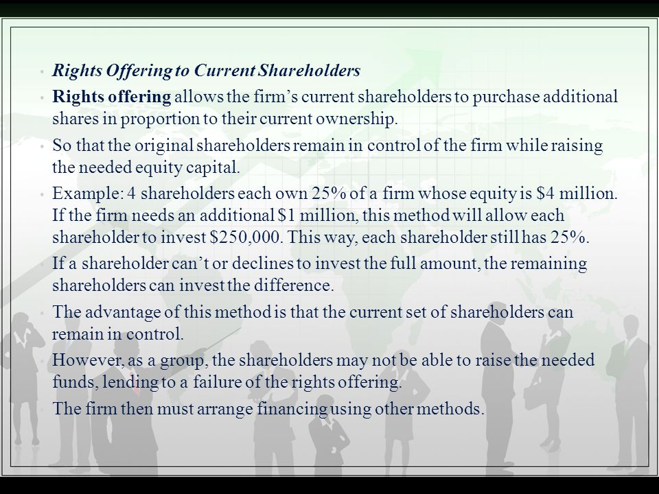 Rights Offering to Current Shareholders