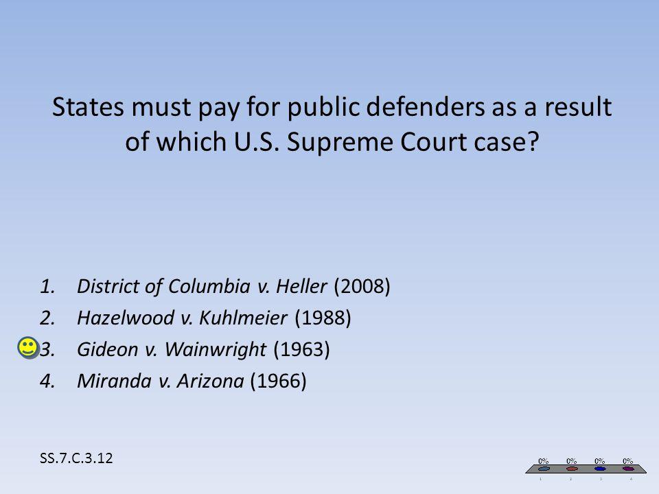 District of Columbia v. Heller (2008) Hazelwood v. Kuhlmeier (1988)