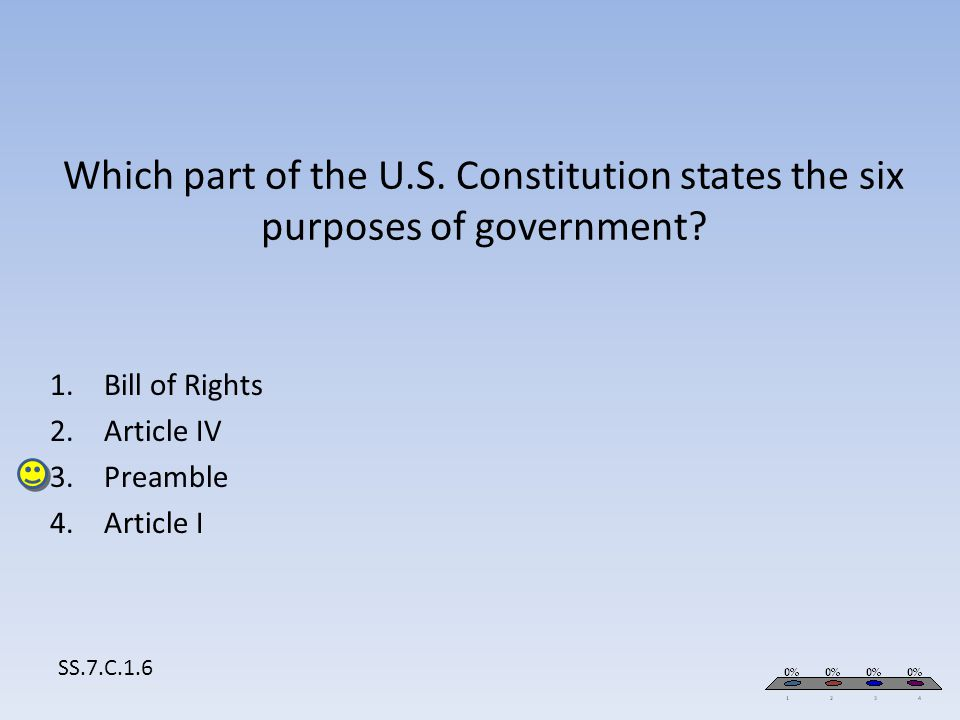 Bill of Rights Article IV Preamble Article I SS.7.C.1.6