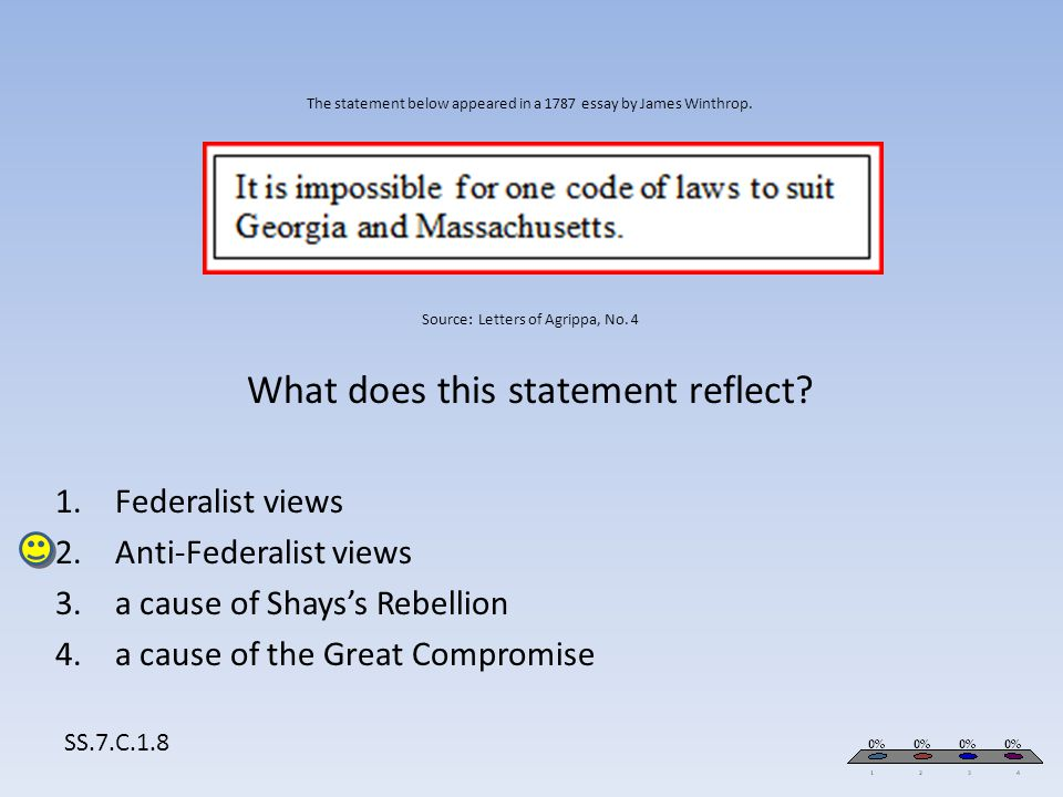 Anti-Federalist views a cause of Shays's Rebellion