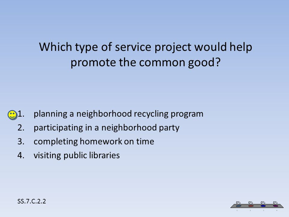 Which type of service project would help promote the common good