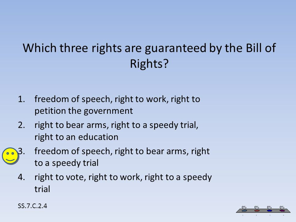 Which three rights are guaranteed by the Bill of Rights