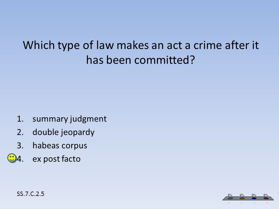Which type of law makes an act a crime after it has been committed