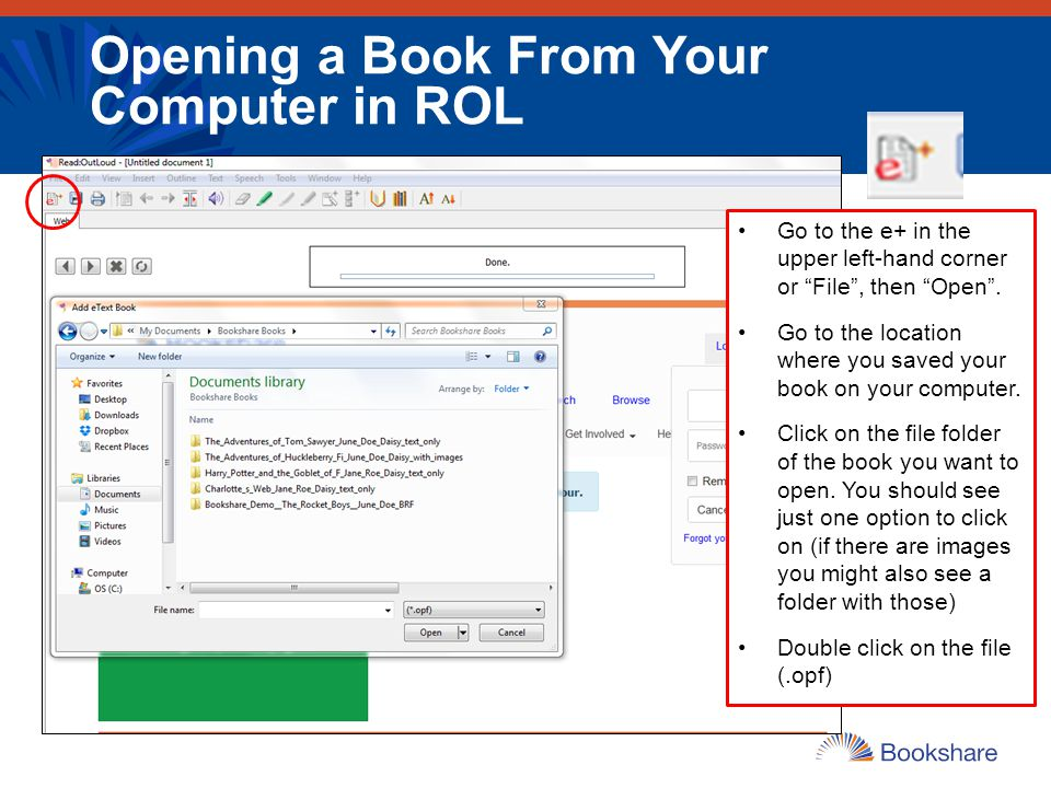 Opening a Book From Your Computer in ROL