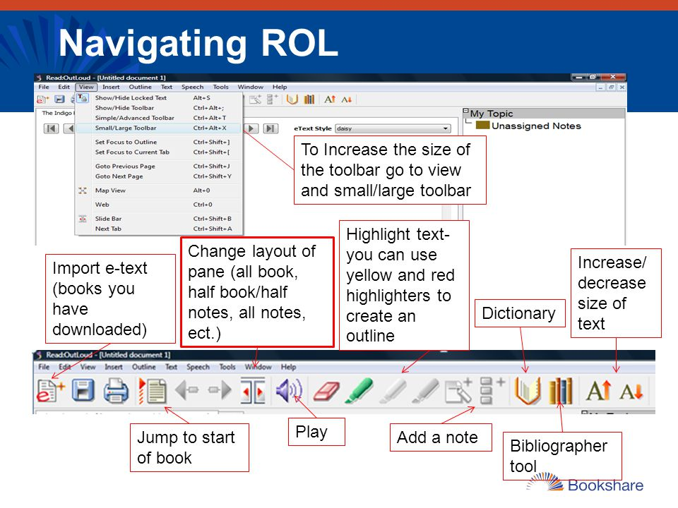 Navigating ROL To Increase the size of the toolbar go to view and small/large toolbar.
