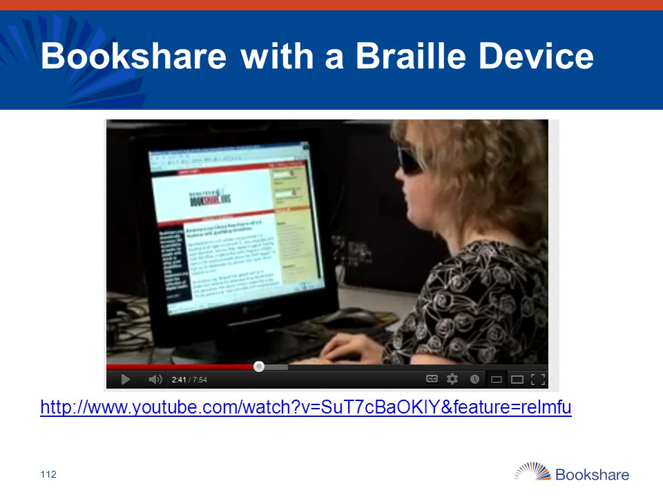 Bookshare with a Braille Device