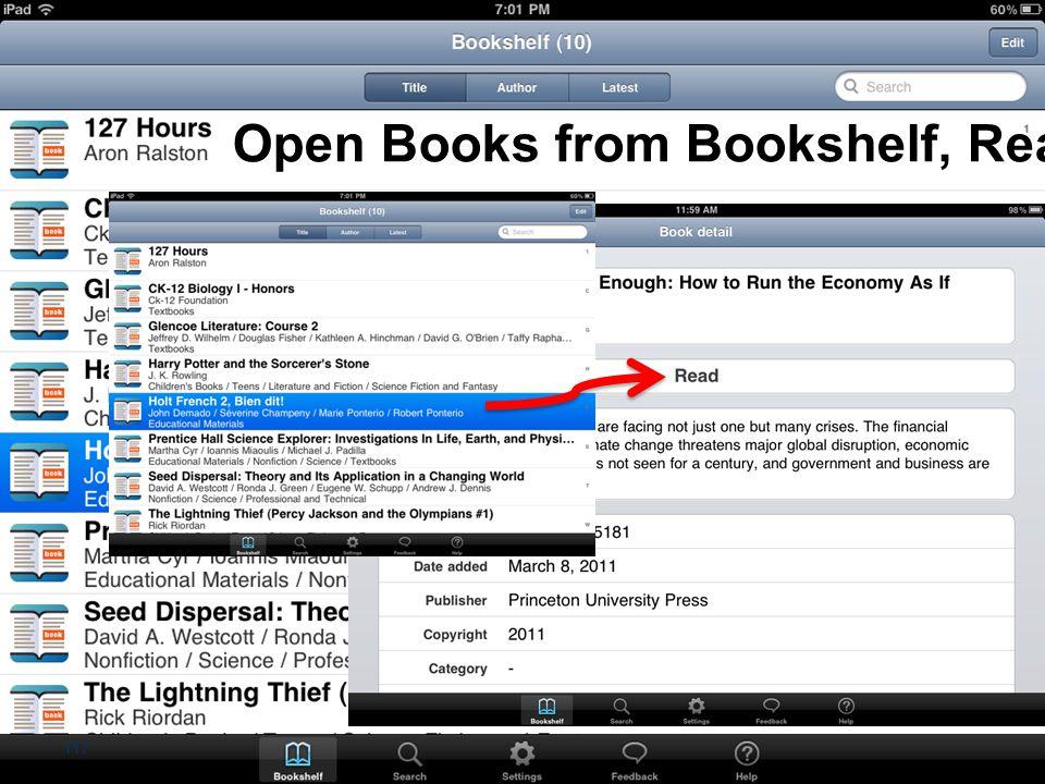 Open Books from Bookshelf, Read