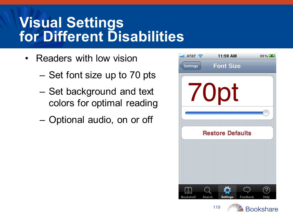Visual Settings for Different Disabilities