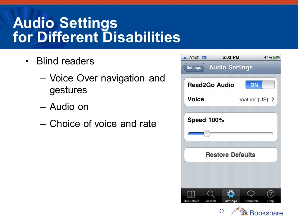Audio Settings for Different Disabilities
