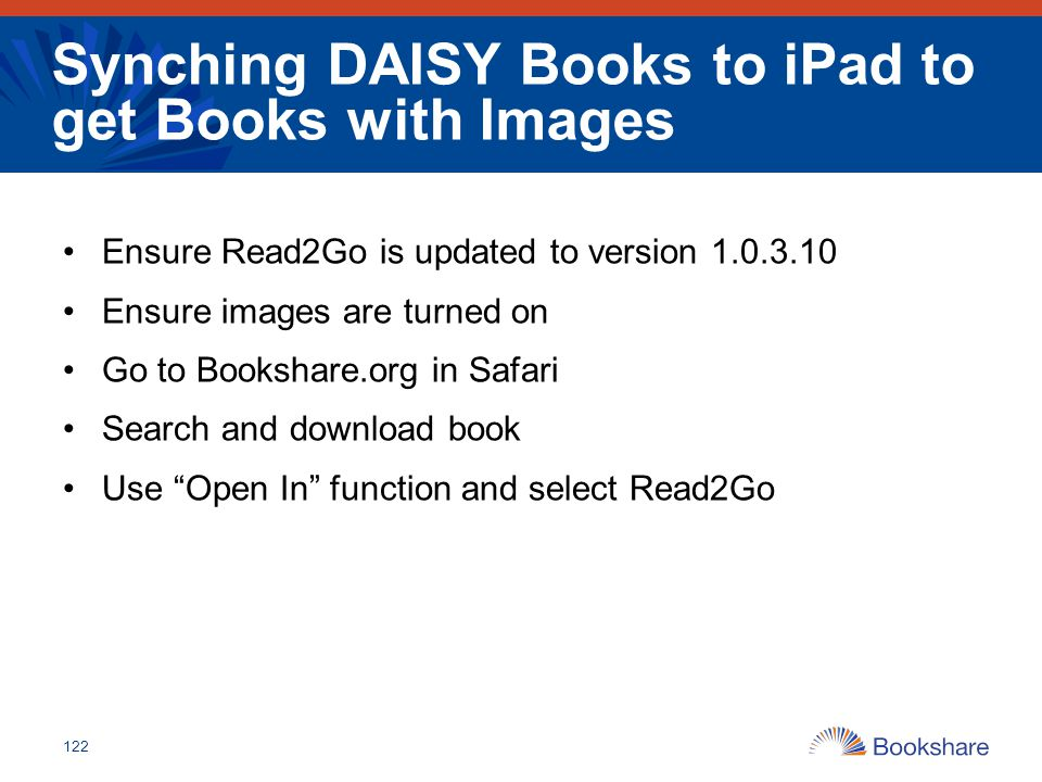 Synching DAISY Books to iPad to get Books with Images