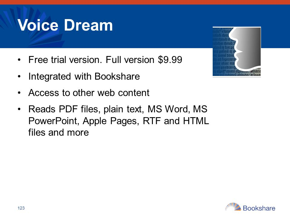 Voice Dream Free trial version. Full version $9.99