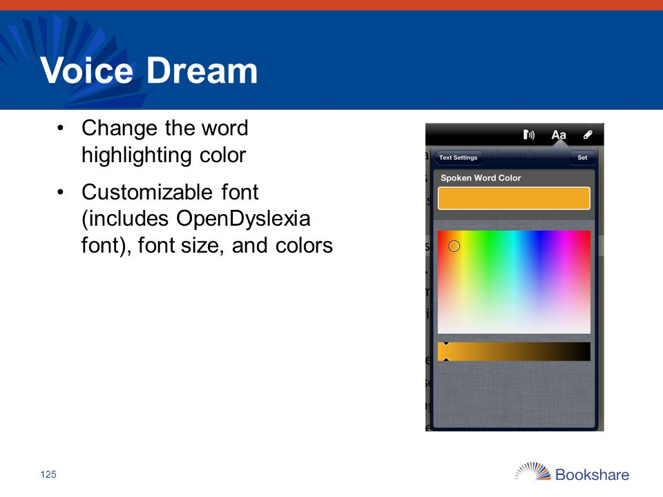 Voice Dream Change the word highlighting color