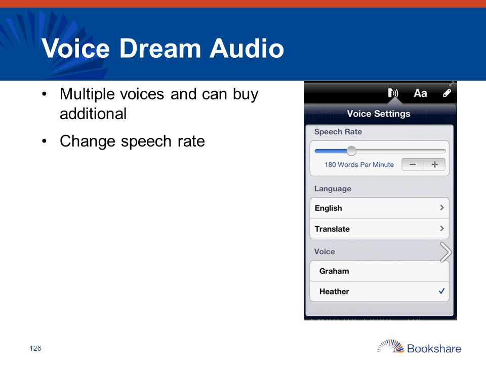 Voice Dream Audio Multiple voices and can buy additional