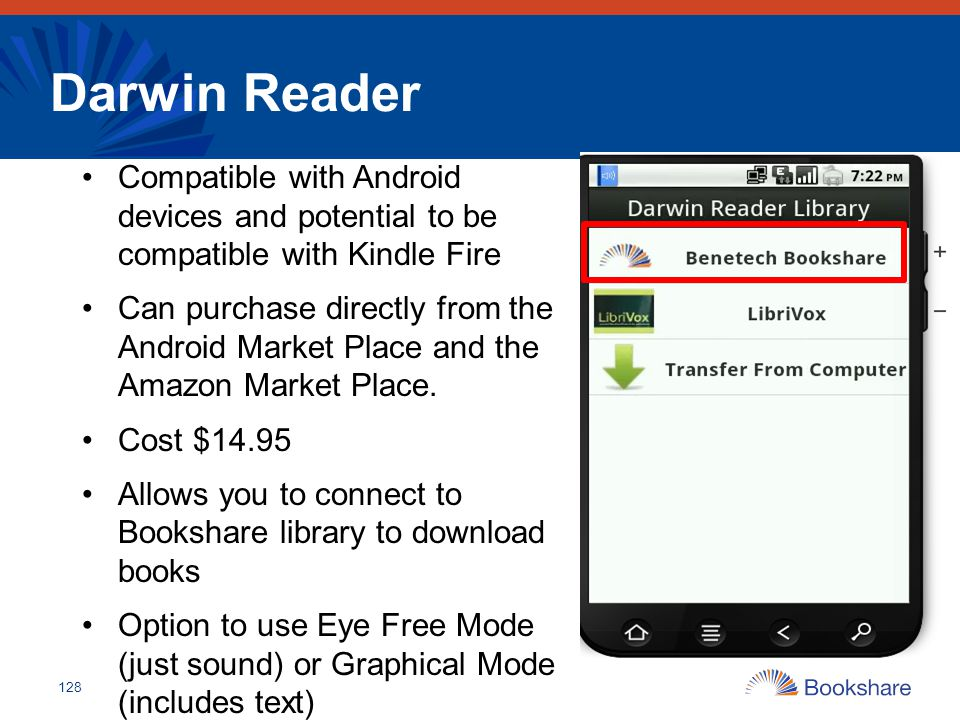 Darwin Reader Compatible with Android devices and potential to be compatible with Kindle Fire.