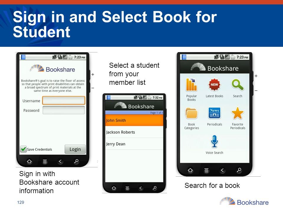 Sign in and Select Book for Student