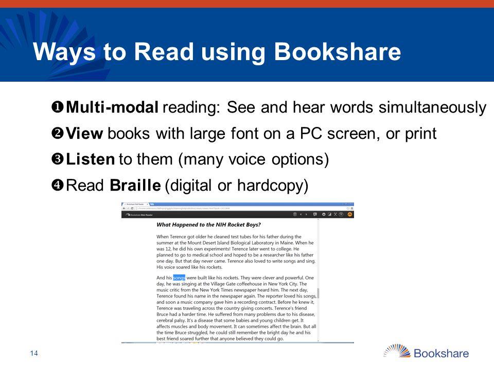 Ways to Read using Bookshare