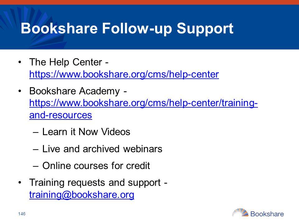 Bookshare Follow-up Support