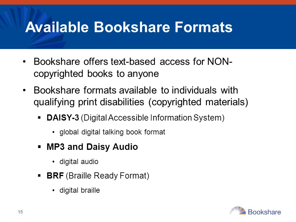 Available Bookshare Formats
