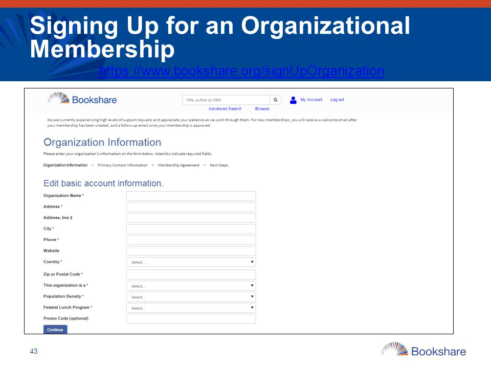 Signing Up for an Organizational Membership