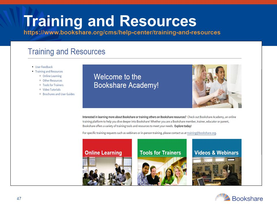 Training and Resources https://www. bookshare