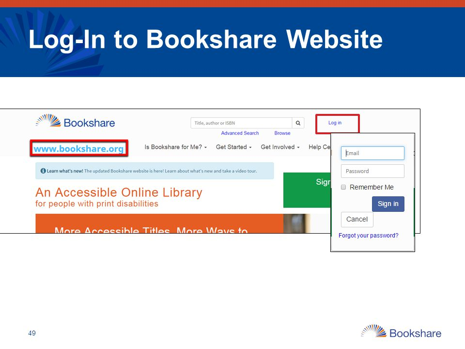 Log-In to Bookshare Website