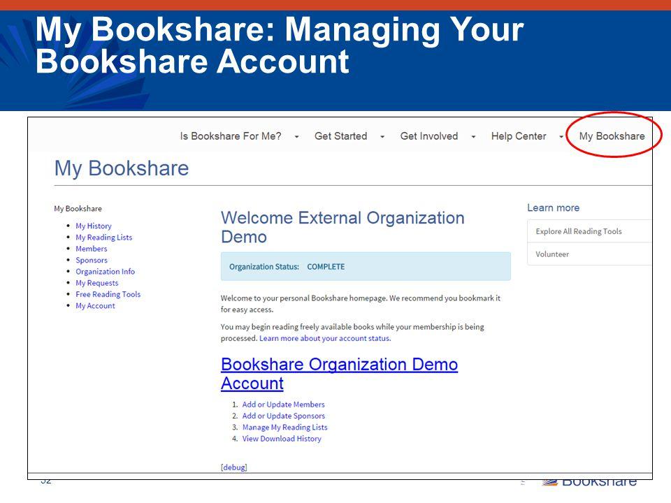 My Bookshare: Managing Your Bookshare Account