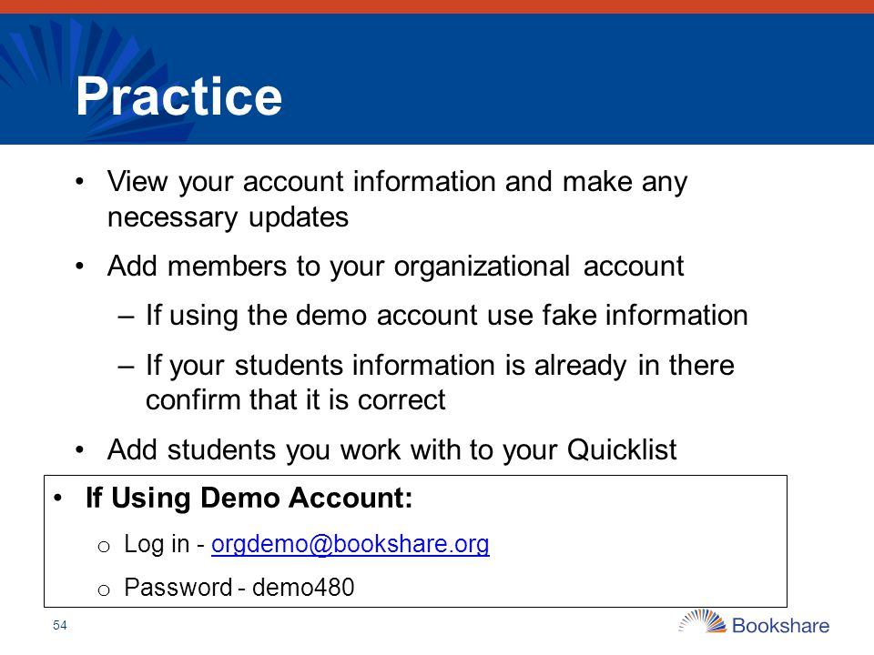 Practice View your account information and make any necessary updates