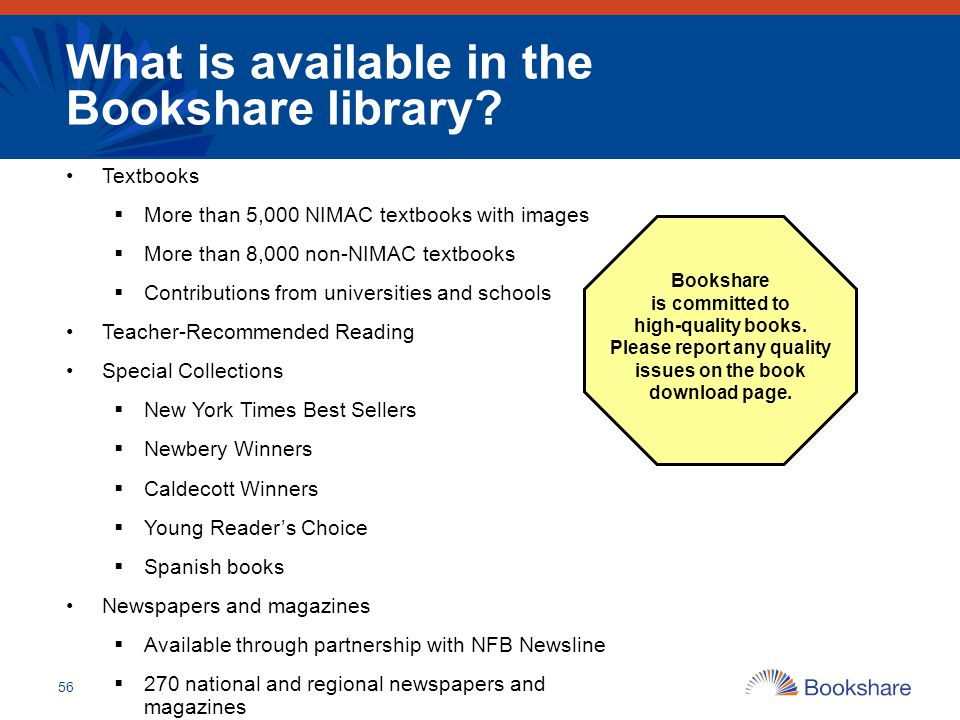 What is available in the Bookshare library