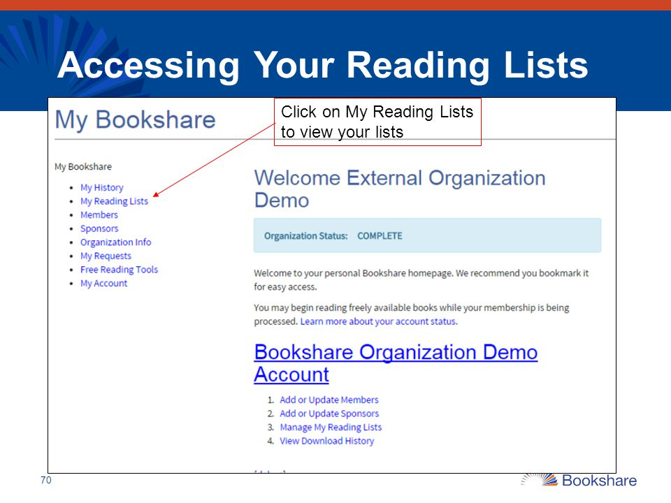 Accessing Your Reading Lists