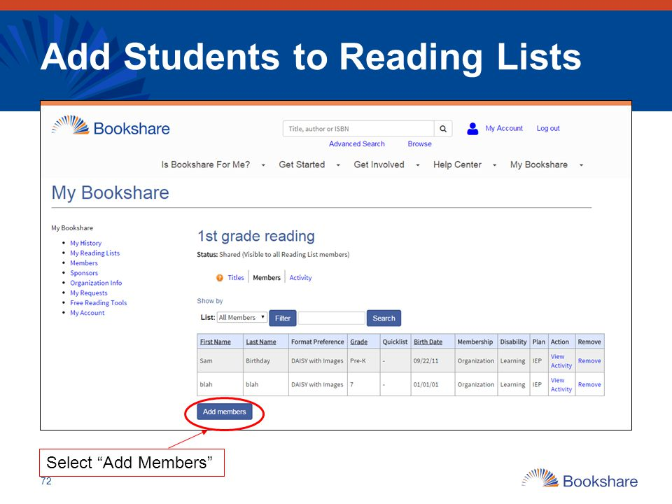 Add Students to Reading Lists