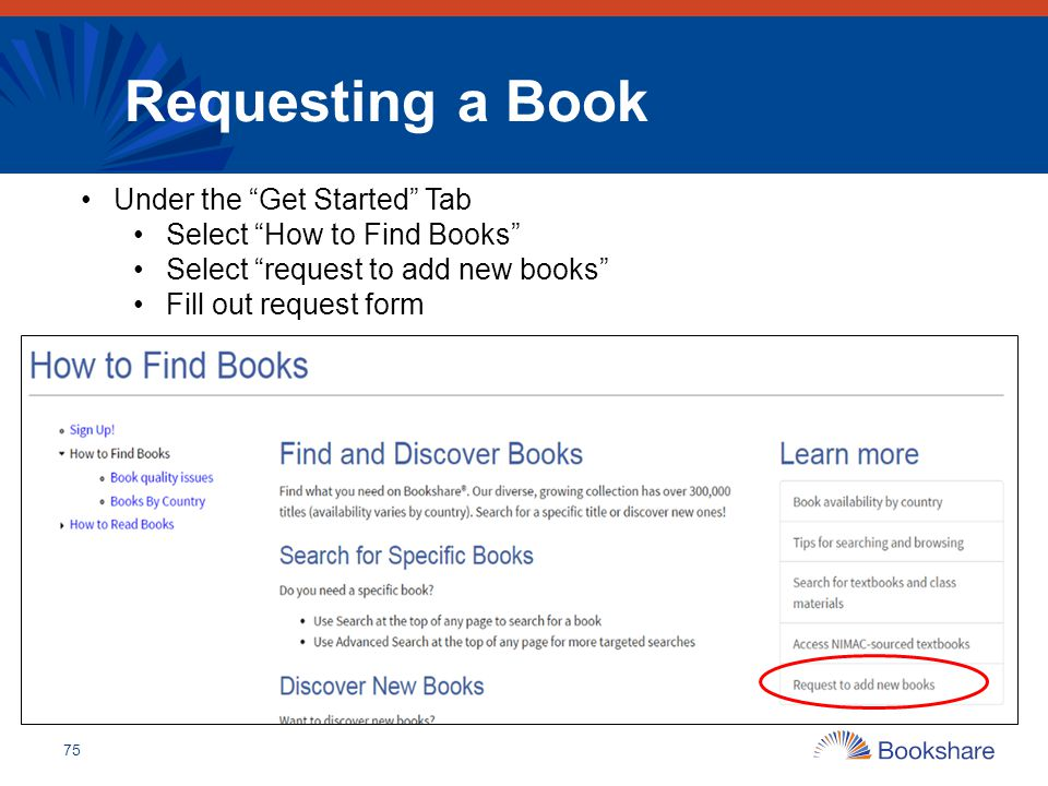 Requesting a Book Under the Get Started Tab