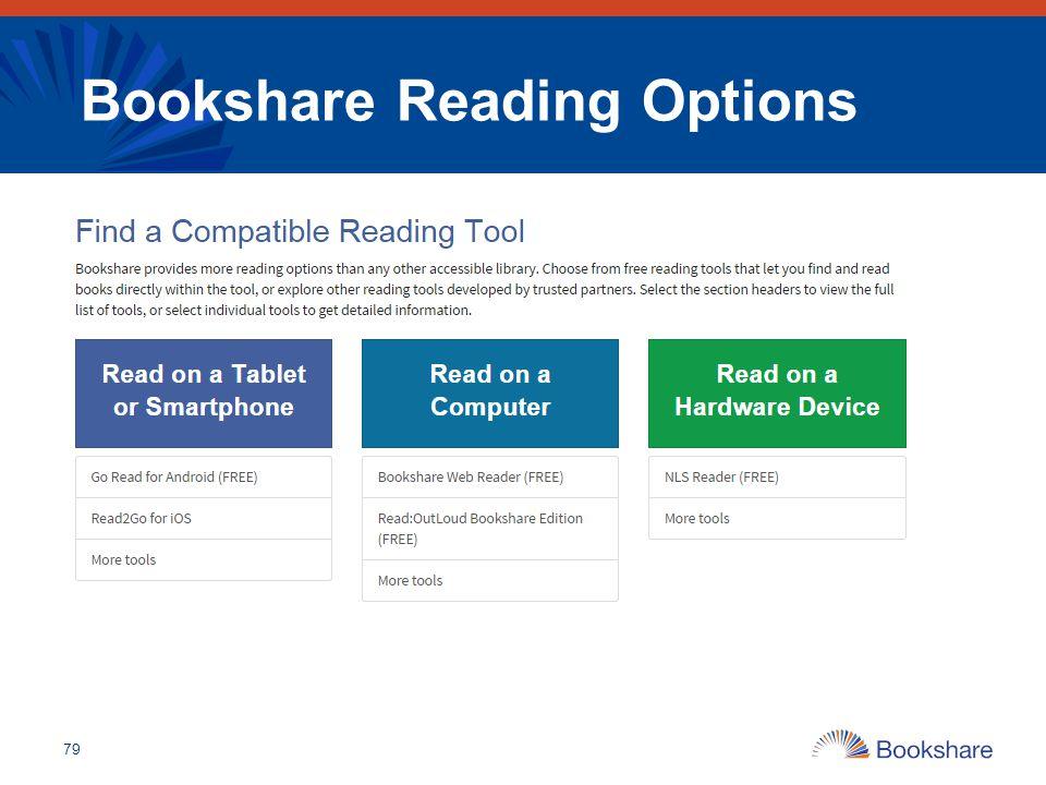 Bookshare Reading Options