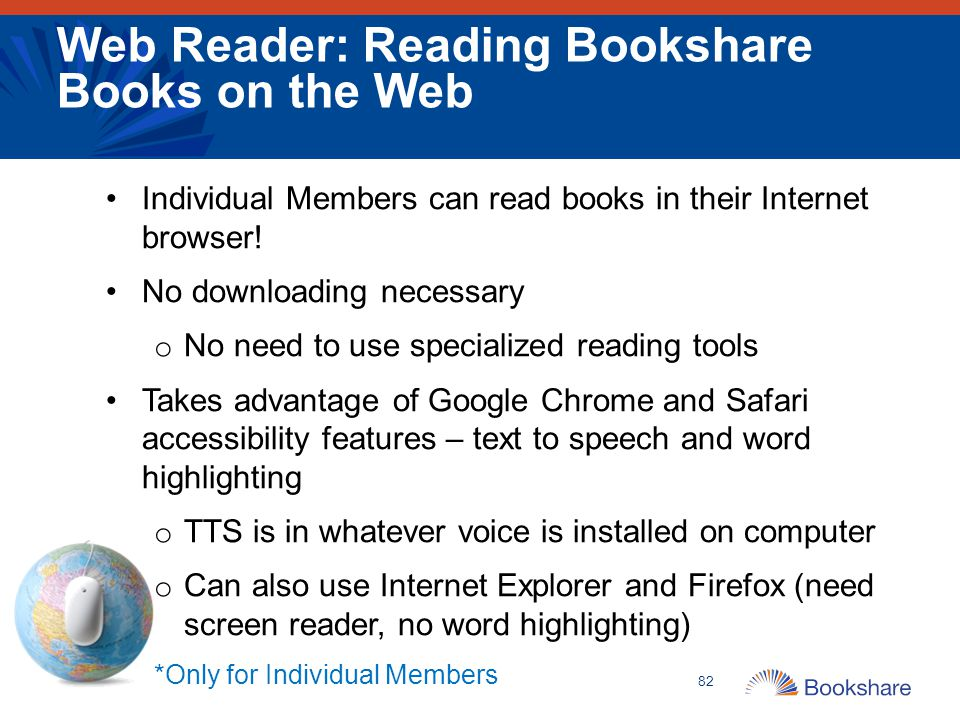 Web Reader: Reading Bookshare Books on the Web