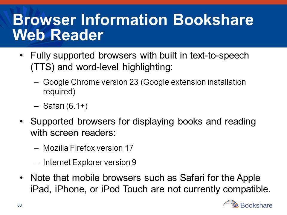 Browser Information Bookshare Web Reader