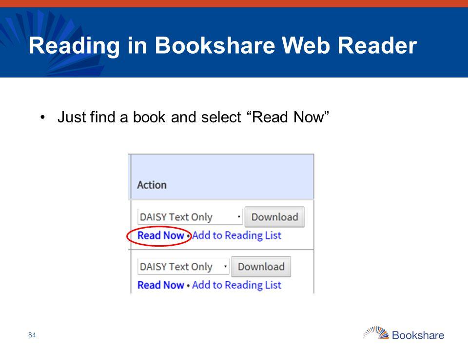 Reading in Bookshare Web Reader