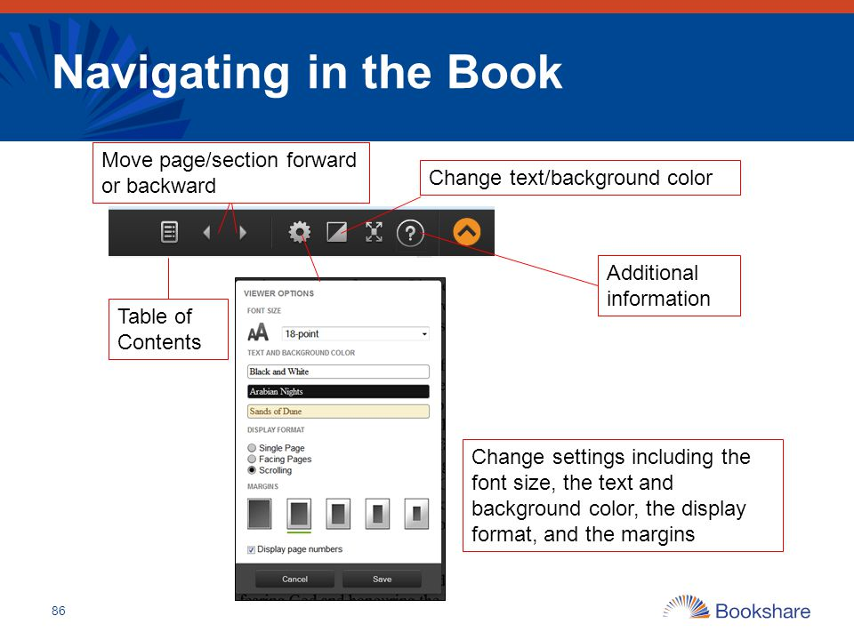 Navigating in the Book Move page/section forward or backward