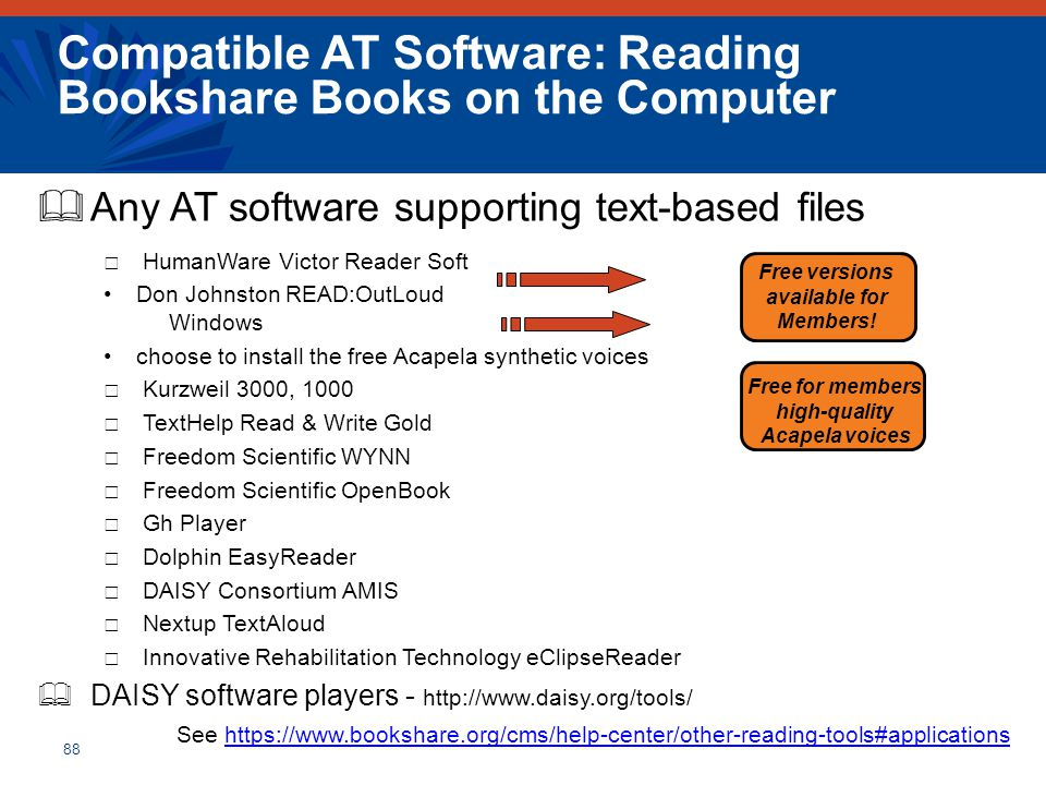 Compatible AT Software: Reading Bookshare Books on the Computer