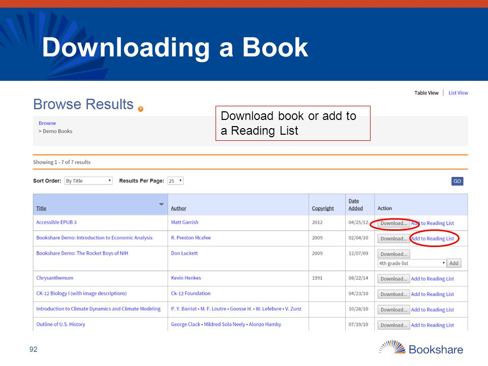 Downloading a Book Download book or add to a Reading List