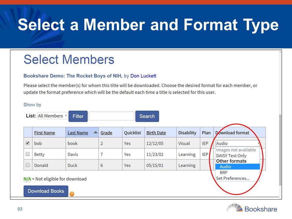 Select a Member and Format Type
