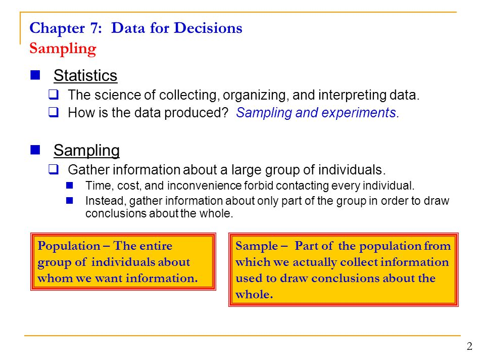 Chapter 7: Data for Decisions Sampling