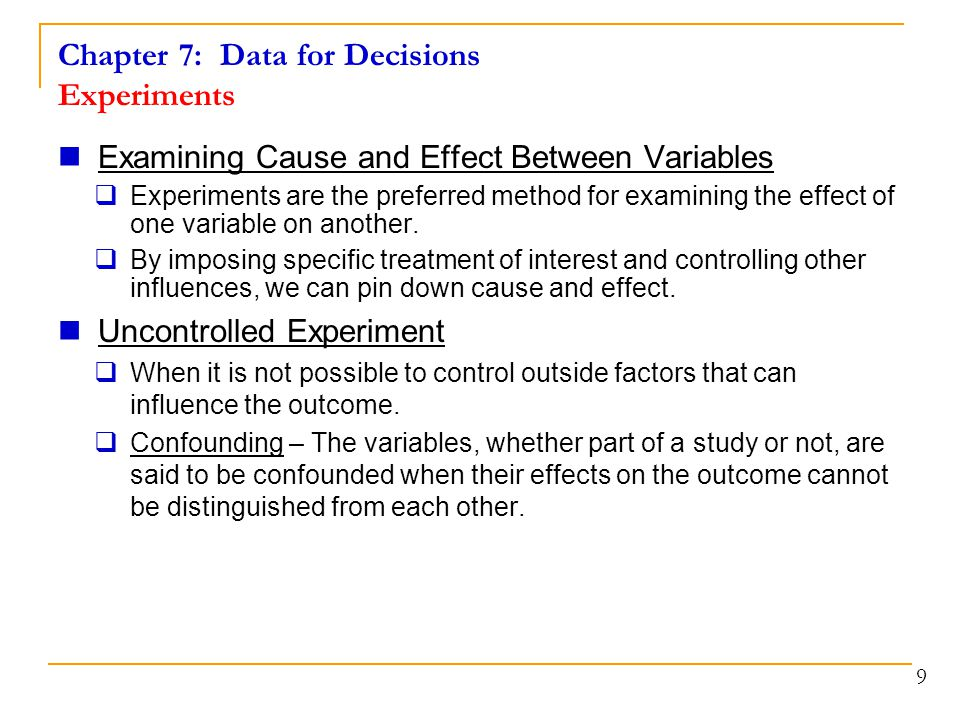 Chapter 7: Data for Decisions Experiments