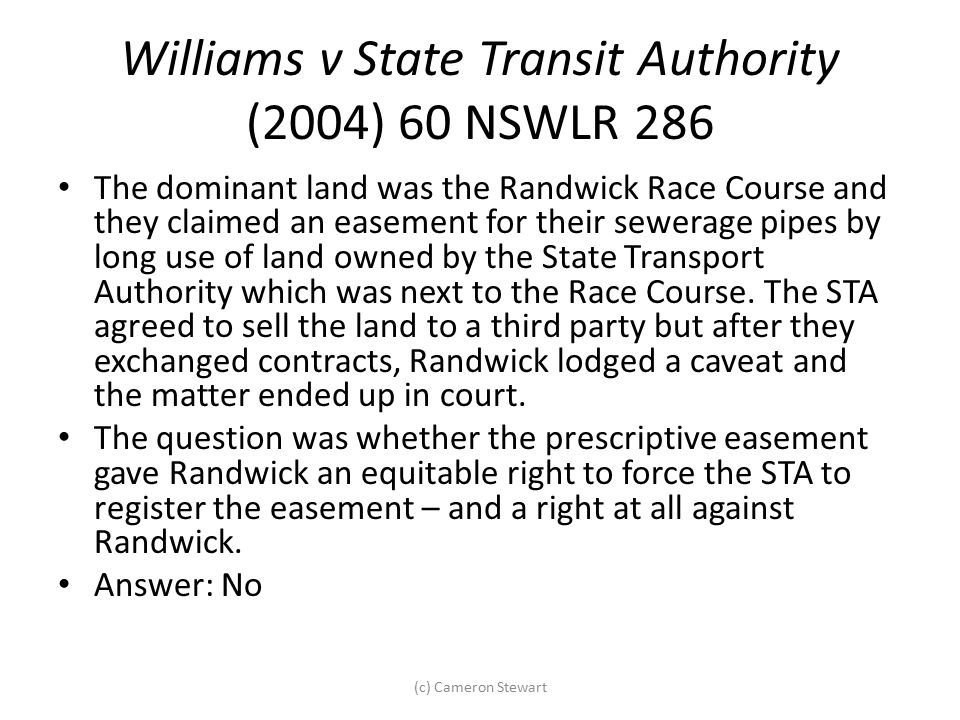 Williams v State Transit Authority (2004) 60 NSWLR 286
