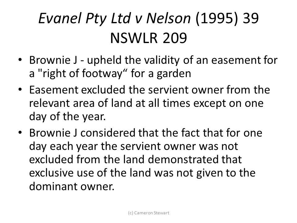 Evanel Pty Ltd v Nelson (1995) 39 NSWLR 209