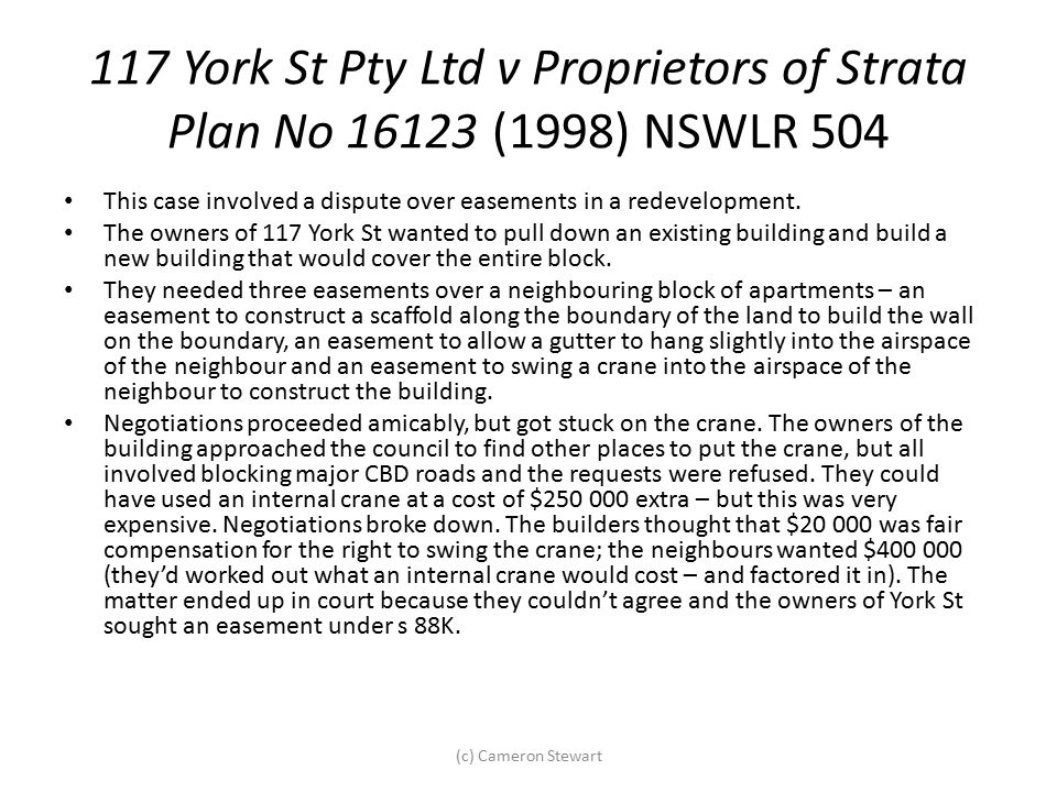 117 York St Pty Ltd v Proprietors of Strata Plan No 16123 (1998) NSWLR 504