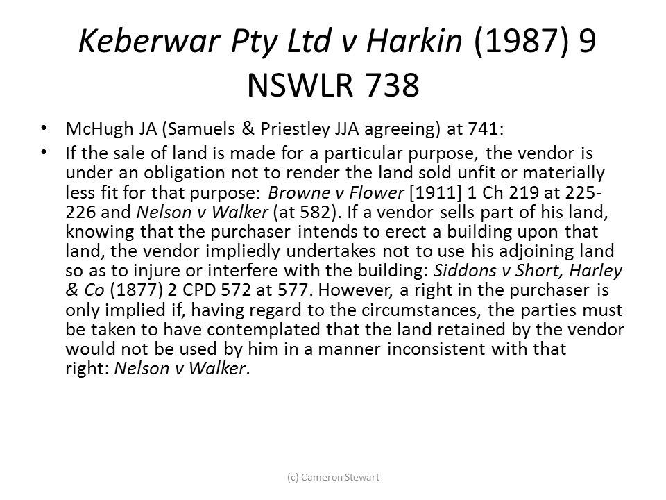 Keberwar Pty Ltd v Harkin (1987) 9 NSWLR 738