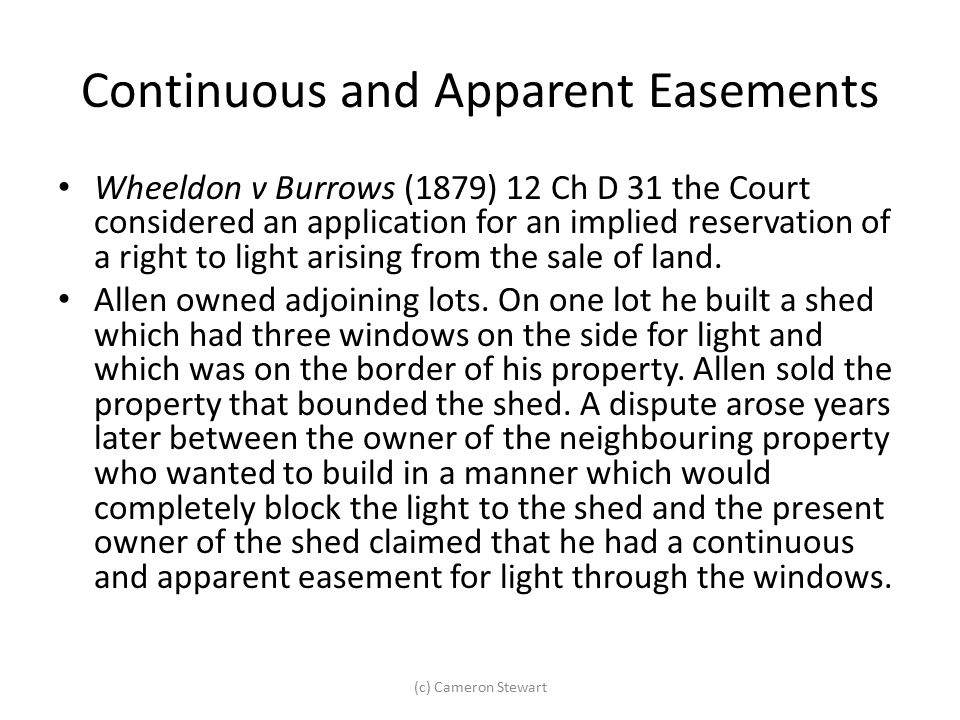 Continuous and Apparent Easements