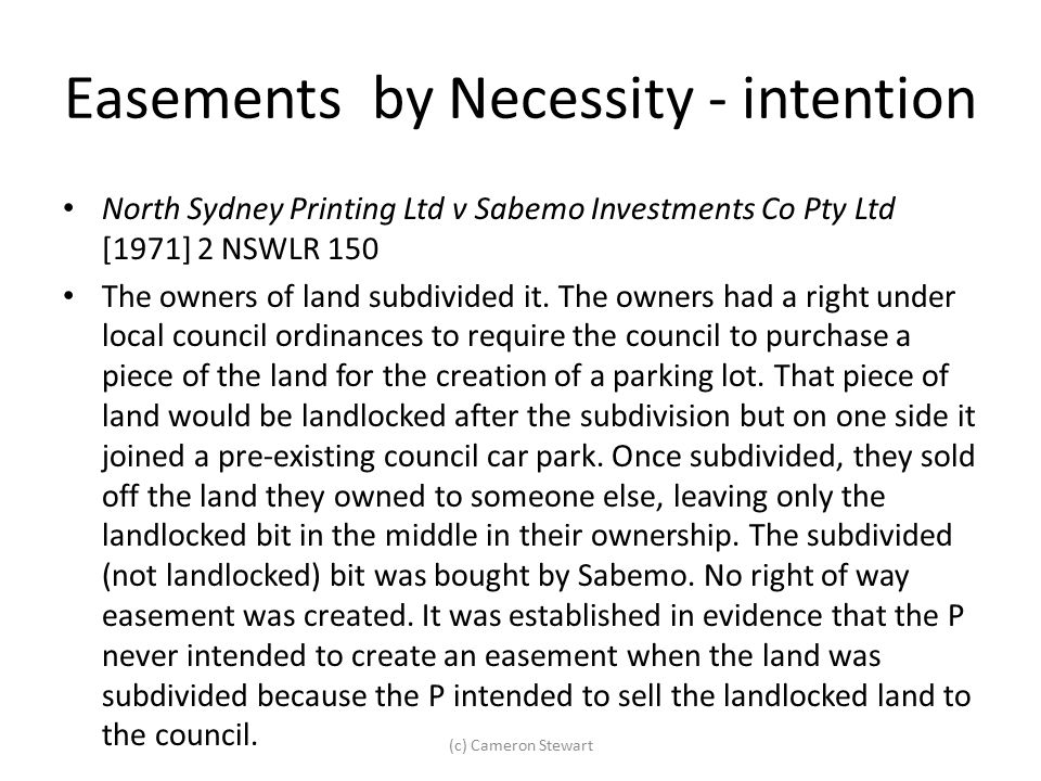 Easements by Necessity - intention