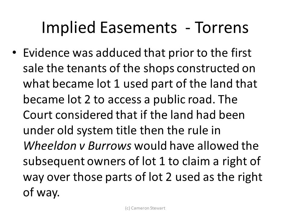 Implied Easements - Torrens