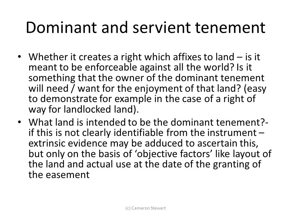 Dominant and servient tenement